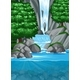 Waterfall Into Pond Scene - GraphicRiver Item for Sale