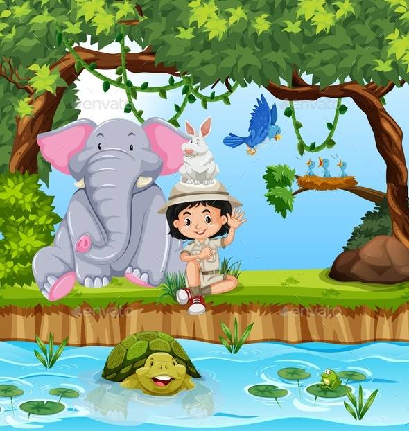 Girl Scout With Animals in Forrest - People Characters