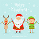 Santa with Happy Elf and Deer Holding Christmas Lights - GraphicRiver Item for Sale