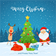 Santa Claus and Reindeer with Christmas Tree on Snowy Background - GraphicRiver Item for Sale