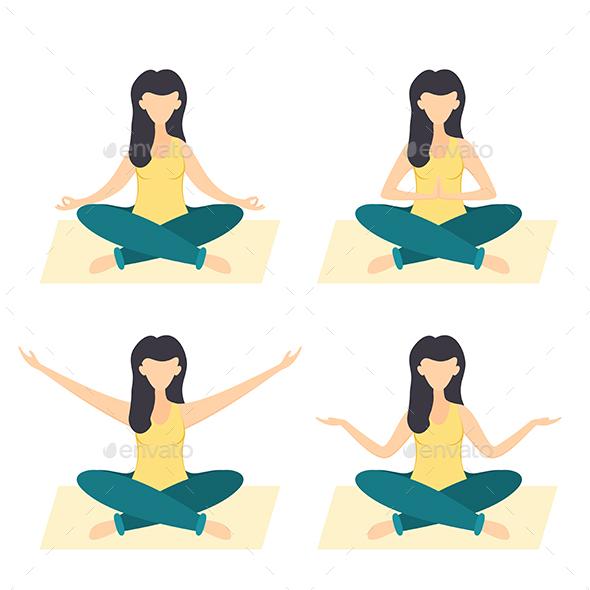 Woman Doing Yoga - People Characters