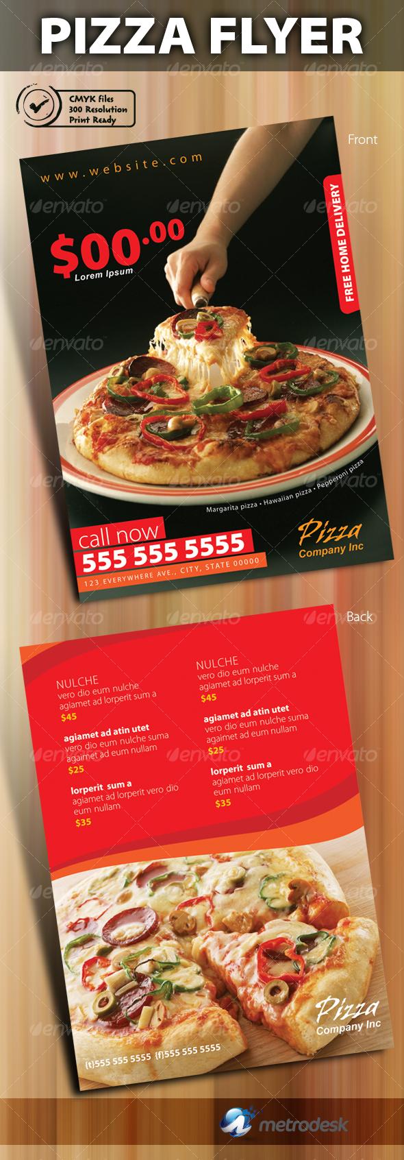 Print ready pizza menu flyer - Restaurant Flyers