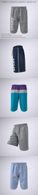 Man's Athletic Shorts, Sport or Gym Shorts Mock-Up - Apparel Product Mock-Ups