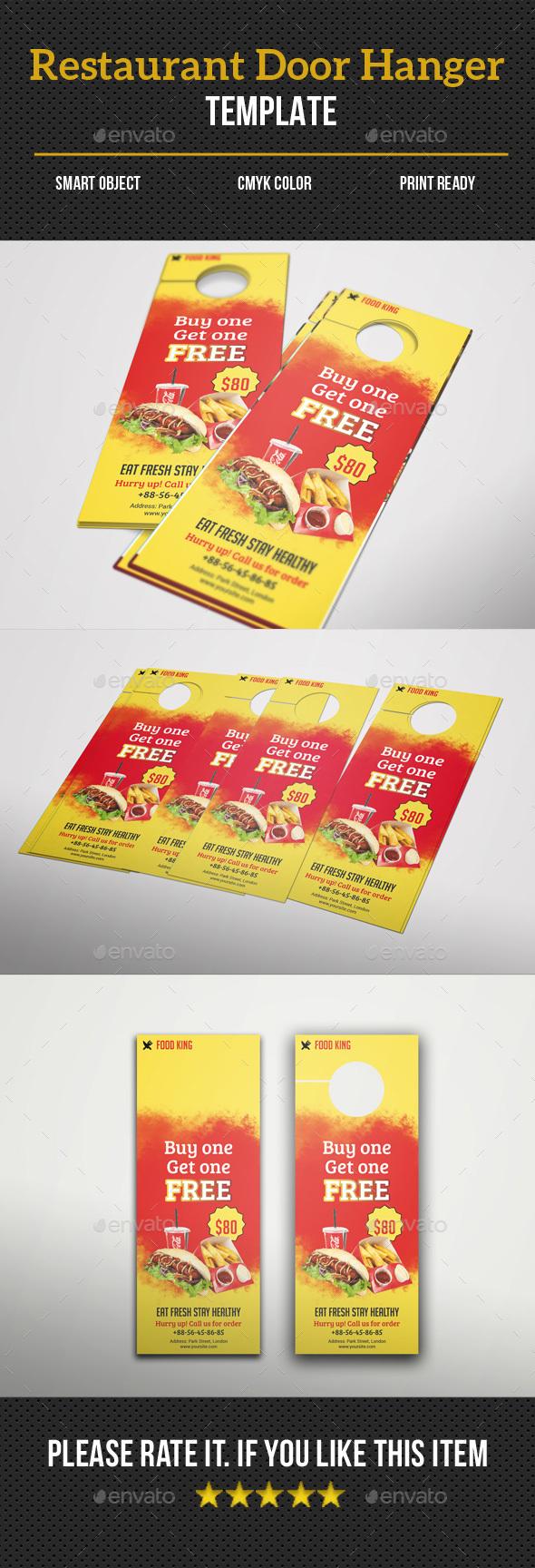 Restaurant Door Hanger - Food Menus Print Templates