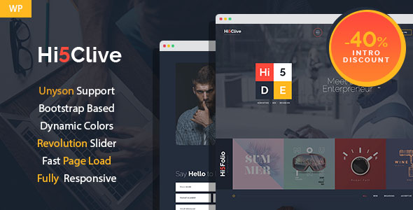 Hi5Clive - Digital Entrepreneur WordPress Theme - Marketing Corporate
