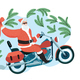 Santa Claus with a Gift Sack Riding a Motorbike - GraphicRiver Item for Sale