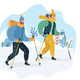 Couple Practicing Nordic Walking in the Snow - GraphicRiver Item for Sale