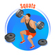 Squats With Barbell Isometric Background - GraphicRiver Item for Sale