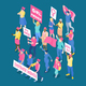 Protesting Women Isometric Illustration - GraphicRiver Item for Sale