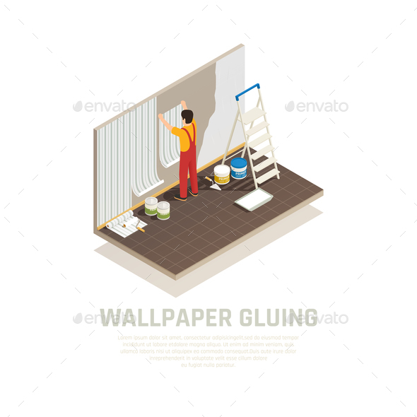 Wallpaper Gluing Isometric Background - Industries Business