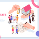 Estate Agency Isometric Concept Banner - GraphicRiver Item for Sale