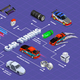 Car Tuning Isometric Flowchart - GraphicRiver Item for Sale