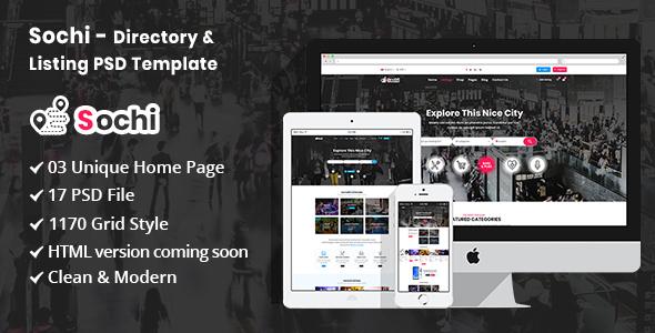 Sochi - Directory & Listing PSD Template