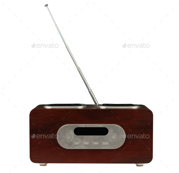 modern radio with wooden finish isolated white - Stock Photo - Images