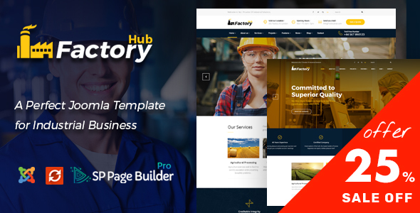 Factory HUB - Industry / Factory / Engineering and Industrial Business Joomla Template