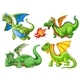 Set of Green Dragons - GraphicRiver Item for Sale