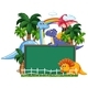 Dinosaur With Chalkboard Banner - GraphicRiver Item for Sale