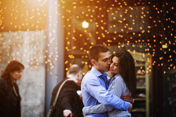 Couple have fun in the city - Stock Photo - Images