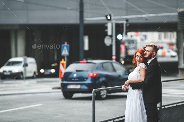 Wedding couple in a futuristic building - Stock Photo - Images