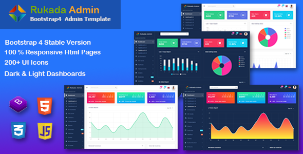 Rukada -  Responsive Bootstrap 4 Admin Template Free Download | Nulled