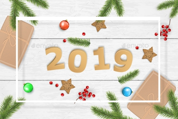 Christmas and 2019 New Year Vector Background - New Year Seasons/Holidays