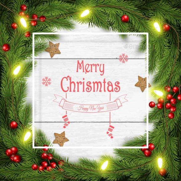 Christmas Wreath Vector Illustration on White - Christmas Seasons/Holidays