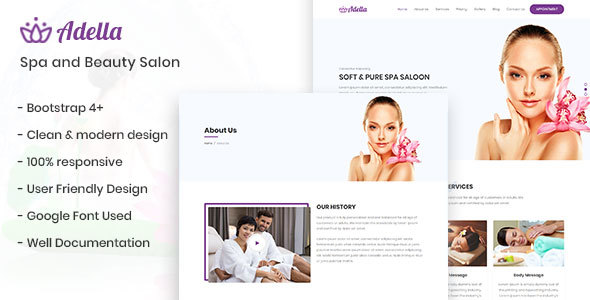 Adella - Wellness Center, Spa and Beauty Salon Template Free Download   Nulled