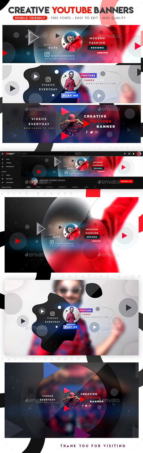 Creative Multipurpose YouTube Banners - YouTube Social Media