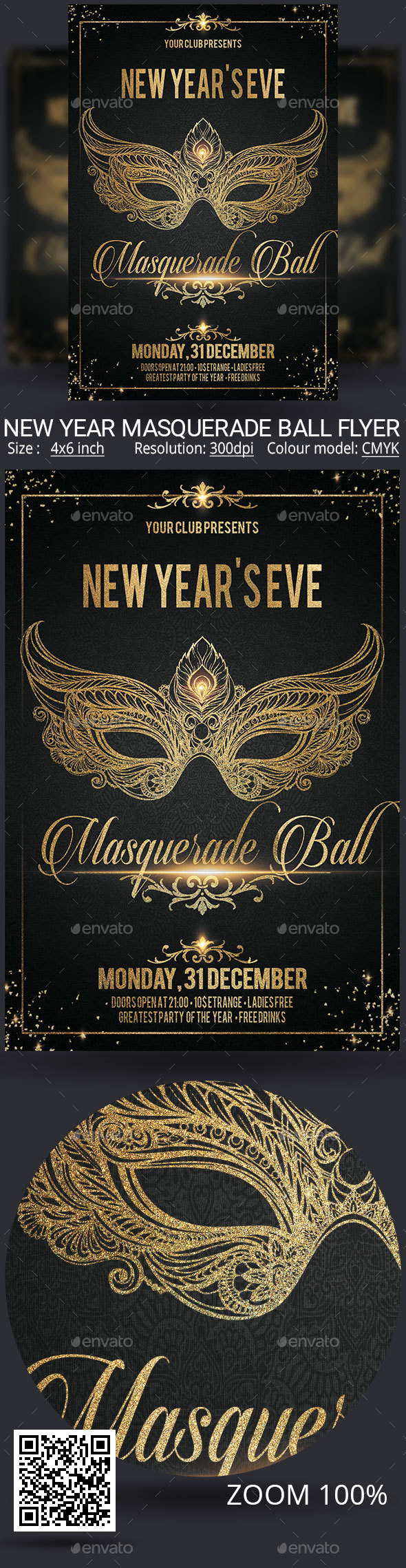 New Year Carnival Masquerade Ball Flyer - Clubs & Parties Events