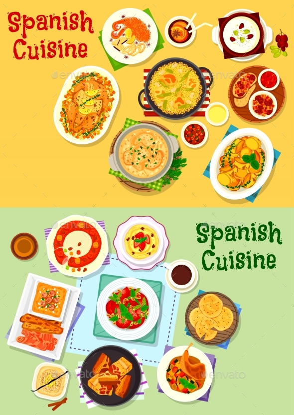 Spanish Cuisine National Dishes Icon Set Design - Food Objects