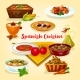 Spanish Cuisine Tasty Dinner Dishes Cartoon Icon - GraphicRiver Item for Sale
