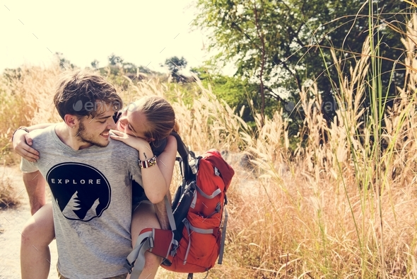Young couple traveling together - Stock Photo - Images