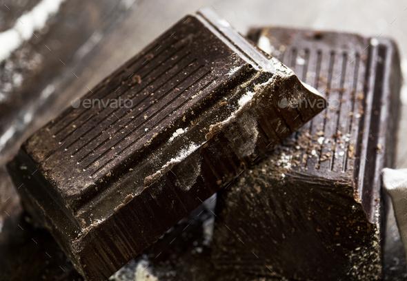 Closeup of dark chocolate bars - Stock Photo - Images
