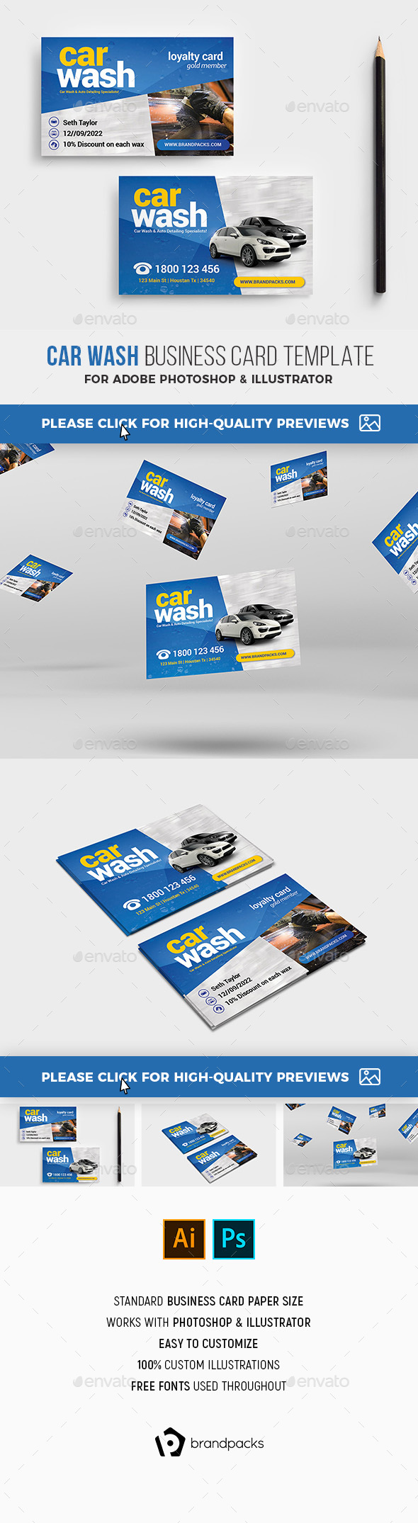 Car Wash Business / Loyalty Card - Industry Specific Business Cards