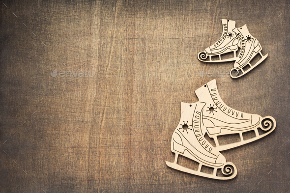 winter holidays concept with ice skates - Stock Photo - Images