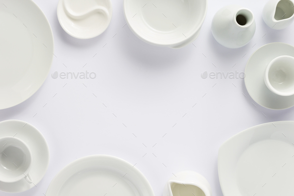 set of dishes on white background - Stock Photo - Images