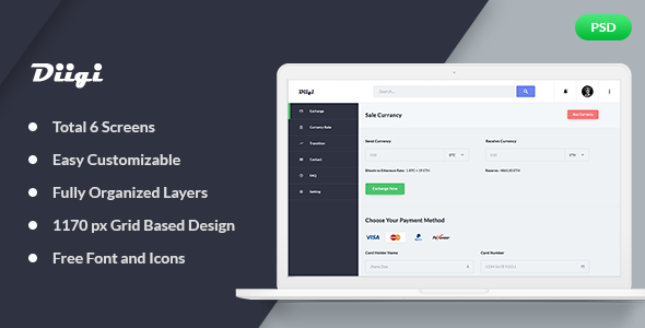 Diigi – Currency Exchange Web App PSD Template