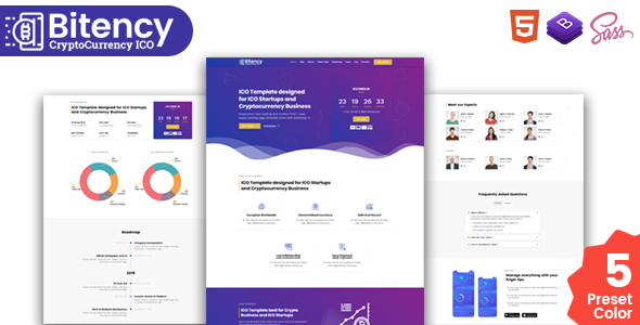Bitency - Cryptocurrency & Bitcoin Bootstrap 4 responsive landing page template Free Download | Nulled