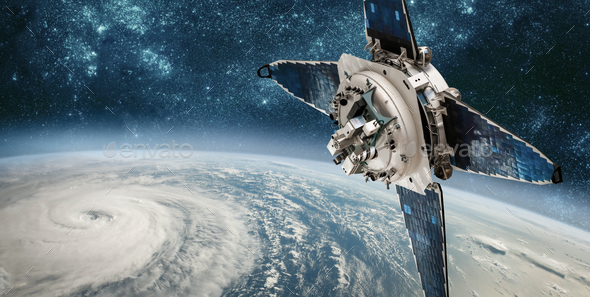Space satellite monitoring from earth orbit weather from space, - Stock Photo - Images