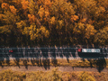 Aerial view of car and truck on road through forest - PhotoDune Item for Sale