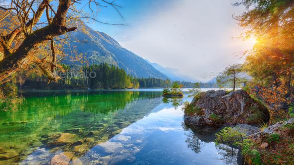 Fantastic autumn sunset of Hintersee lake - Stock Photo - Images