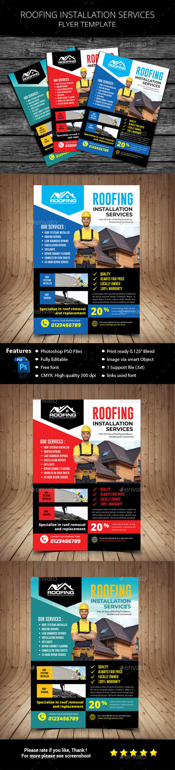 Roofing Service Flyer - Corporate Business Cards