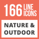 166 Nature & Outdoor Line Multicolor B/G Icons - GraphicRiver Item for Sale
