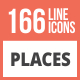 166 Places Line Multicolor B/G Icons - GraphicRiver Item for Sale