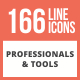 166 Professionals & their tools Line Multicolor B/G Icons - GraphicRiver Item for Sale