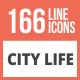 166 City Life Line Multicolor B/G Icons - GraphicRiver Item for Sale
