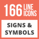 166 Signs & Symbols Line Multicolor B/G Icons - GraphicRiver Item for Sale