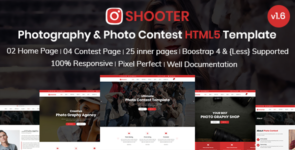 Shooter - Photography and Photo Contest Bootstrap 4 Template