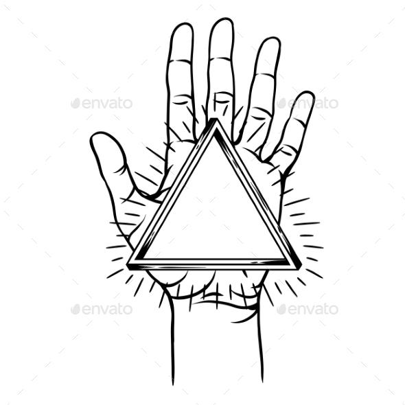 Open Hand with Infinite Triangle Symbol - Religion Conceptual