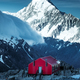 Winter landscape view of red mountain hut and Mt Cook peak, NZ - PhotoDune Item for Sale